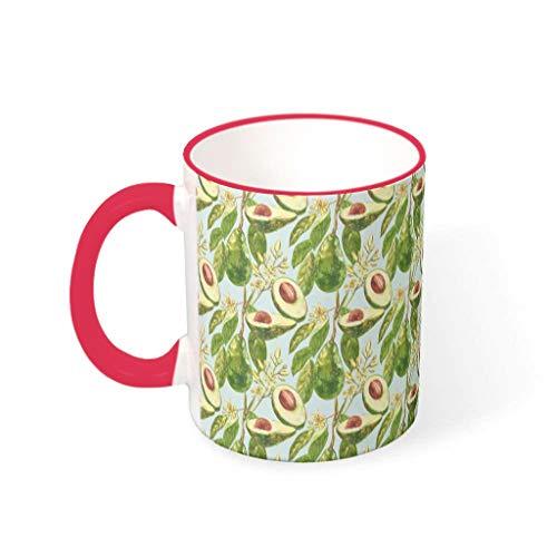 Lind88 - Taza de té de agua con mango de cerámica para aguacate en árbol, fresco y puro, para uso de dormitorio (330 ml)