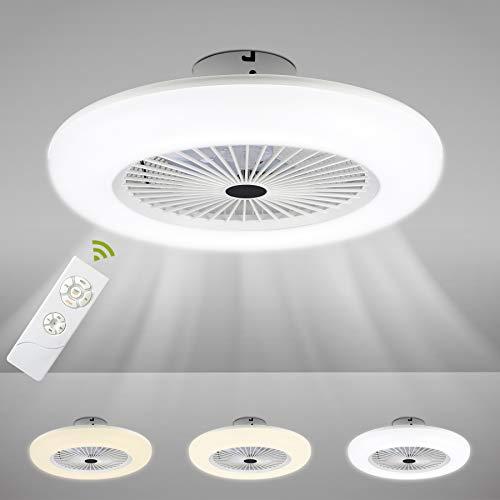 Ventilador de techo Hengda de 80 W con iluminación, velocidad del viento y temperatura de color, ventilador de techo con mando a distancia, salón, dormitorio, comedor, lámpara LED, 2700 K-6500 K