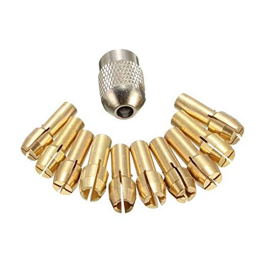 Bodbii 11PCS / Set Brass Portabrocas Collet bits 0.5-3.2mm 4.3mm vástago del Tornillo Tuerca de Repuesto para la Herramienta rotativa Dremel