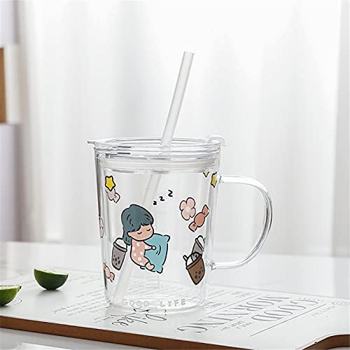 RZHIXR Taza De Desayuno para Niños con Taza De Agua De Vidrio con Pajita, Linda Taza De Leche De Jugo Impresa, Taza De Café Sellada con Asa 450ml
