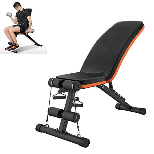 Check Out This MLQ Foldable Utility Bench, Household Adjustable Dumbbell Bench with Drawstring, Back...
