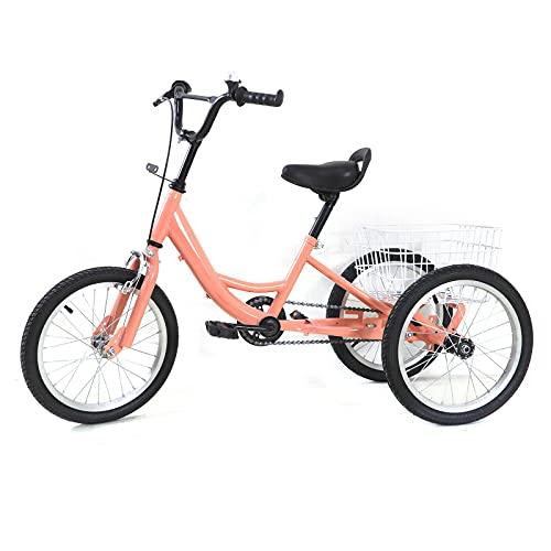 Triciclo infantil para niños de 7 a 10 años, 16 pulgadas, 3 ruedas, con cesta, 16 pulgadas