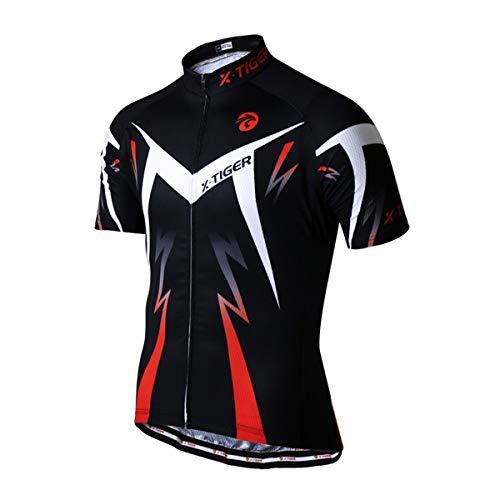 X-TIGER fietsshirt voor heren, korte mouwen, mountainbike/MTB-shirt, ademend, sneldrogend, nauwsluitend, hardlopen, racefietskleding