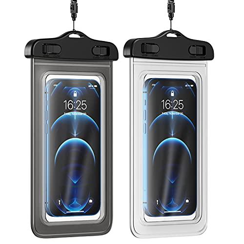 AFARER Funda impermeable para teléfono móvil – [2 unidades] 6,5 pulgadas, doble sellado, resistente al agua, funda para teléfono móvil para iPhone, Samsung, Huawei, etc. – Transparente