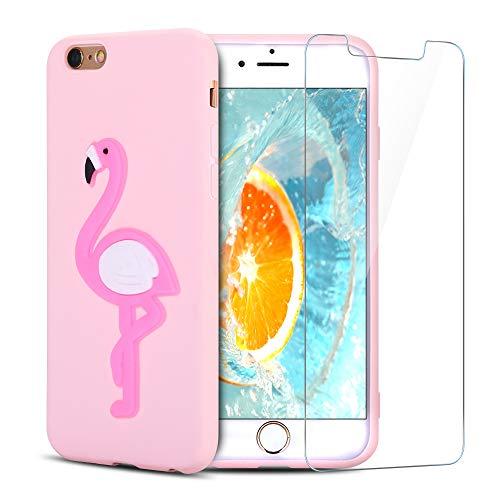SpiritSun ES Funda para iPhone 6 Plus + Protectores de Pantalla in Cristal Templado, TPU Soft Silicona Carcasa Suave Kawaii 3D Case Flexible Original Trasero Protector Case Cover - Flamenco