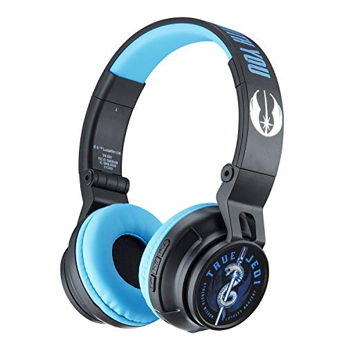 eKids Star Wars Ep 9 Wireless Bluetooth Portable Kids Headphones with Microphone, Volume Reduced to Protect Hearing Rechargeable Battery, Adjustable Kids Headband for School Home or Travel