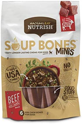 Rachael Ray Nutrish Soup Bones Minis Dog Treats Beef Barley Flavor 6 Count Pack of 8 product image