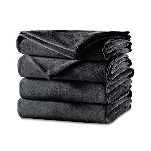 Sunbeam Heated Blanket | Velvet Plush, 10 Heat Settings, Slate, Twin - BSV9GTS-R825-12A44