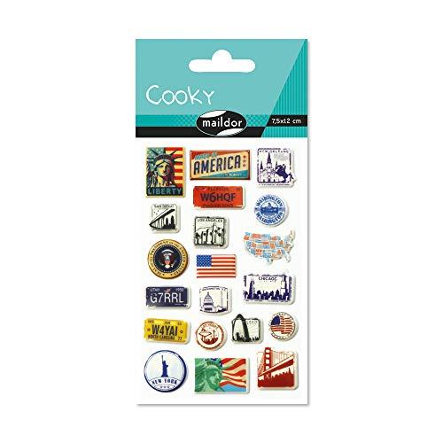 Maildor 560387C Packung mit Stickers Cooky 3D (1 Bogen, 7,5 x 12 cm, ideal zum Dekorieren, Sammeln oder Verschenken, USA) 1 Pack