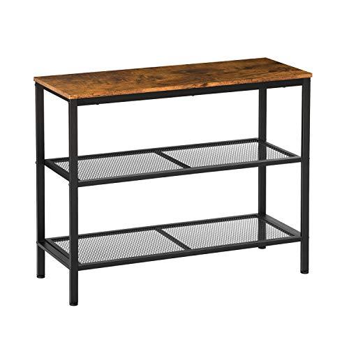 EPHEX Mesa consola de pasillo con 2 estantes de rejilla, mesa auxiliar de diseño industrial, aparador, salón, pasillo, 101 x 35 x 80 cm, marrón oscuro vintage