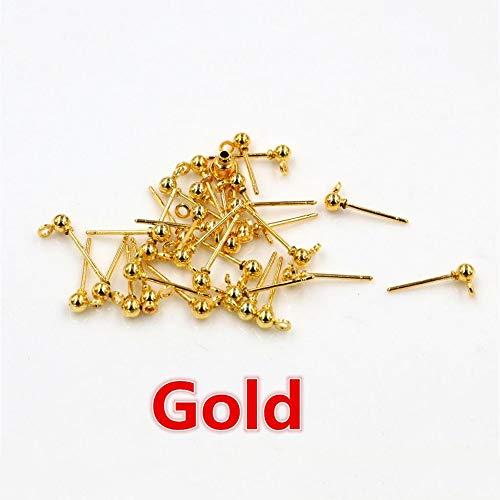 Lijiance 50 stuks / partij 3/4/5 mm 4 Kleurs Pin Bevindingen Stud Oorbel Pins Basic Stoppers aansluiting voor doe-het-zelvers Maken accessoires nodig 5mm Goud