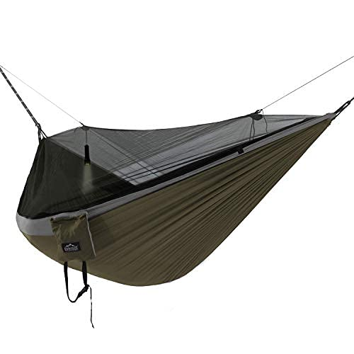 Everest Double Camping Hammock with Mosquito Net | Bug-Free Camping, Hiking, Backpacking & Survival Outdoor Hammock Tent | Reversible, Integrated, Lightweight, Ripstop Nylon | Gray/Green/Net Black