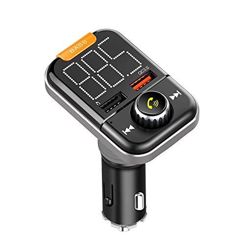 FM Transmitter, IAVATECH Auto Bluetooth 5.0 KFZ Radio Adapter mit Subwoofer-EQ Effekt, QC 3.0 KFZ Schnellladung Port und Unterstützt TF Karte & USB-Stick