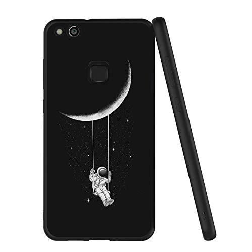 Yoedge Cover Huawei P10 Lite, Sottile Antiurto Custodia Nero Silicone TPU con Disegni Pattern Ultra Slim 360 Protective Bumper Case per Apple Huawei P10 Lite, Astronauta