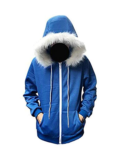 Blau Hoodie Jacke Kapuzenpullover Cosplay Kostüm (Blau, L)