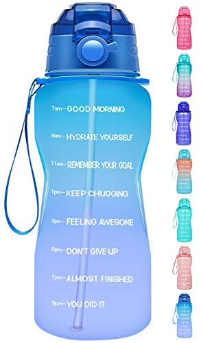 Giotto Large Half Gallon/64oz Motivational Water Bottle with Time Marker & Straw,Leakproof Tritan BPA Free Water Jug,Ensure You Drink Enough Water Daily for Fitness,Gym and Outdoor-Green/Pink Gradient