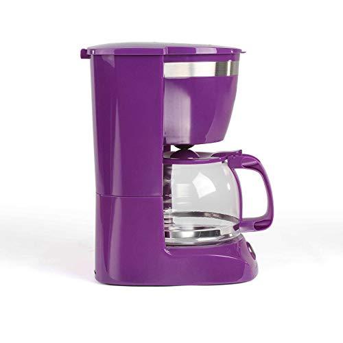 Kaffeemaschine Lila mit Glaskanne für 12 Tassen Warmhaltefunktion (Kaffeeautomat, Kaffeelöffel, Automatische Abschaltung, Wasserstandsanzeige)