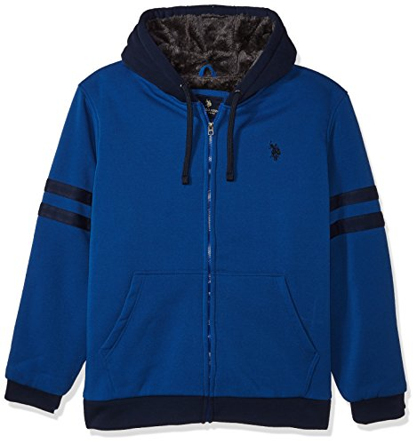 U.S. Polo Assn. Men's Standard Fashion Sherpa Lined Fleece Hoodie, China Blue 5523, 3X