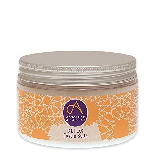 Absolute Aromas Sels de Bain Epsom Detox 300g - Sulfate de Magnésium Infusé avec des Huiles Essentielles 100% Pures de Genièvre, Géranium, Palmarosa, Pamplemousse et Bois de Cèdre