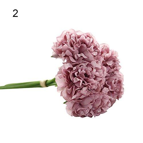 Beiguoxia réaliste Superbe Fleur artificielle 1 Bouquet 5 pcs Fleur artificielle Faux Pivoine pour mariage fête Décor Shop – Rose Vert violet