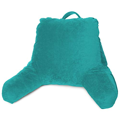 New & Improved Clara Clark Reading Pillow, Petite Bed Rest Pillow with Arms for Kids & Young Adults – Premium Shredded Memory Foam TV Pillow - Teal
