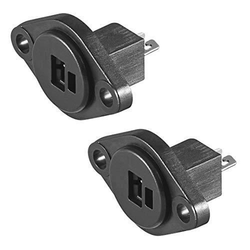 2X DIN Lautsprechereinbaubuchse | mit Lötanschluss | Boxen Audio Adapter Kabelanschluss Lautsprecher Buchse Kupplung | Schwarz | 2 Stück