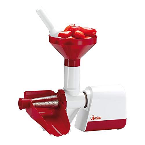 Ardes AR74AM80 Passapomodoro Elettrico, con Filtro in Acciaio Inox, per Passata di Pomodoro, 130 W, Rosso/Bianco