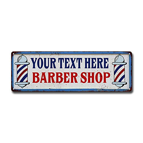 Personalized Barber Shop Sign Hair Cut Custom Name Signs Salon Signs Decor Rustic Decorations Vintage Name Plaque Pole Shave Haircut Tin Wall Art Retro Man Cave Da 6 x 18 High Gloss Metal 206180031001
