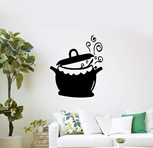 Home Decor Vinyl Keuken Pot en Wok Muursticker Verwijderbare Koken Water Ketel Muursticker Keuken Decoratie 57x68cm