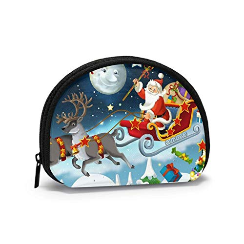 Merry Christmas Santa Claus Reindeer Sled Coin Purse for Women Zipper Small Pouches Wallet Wirel Headset Pack