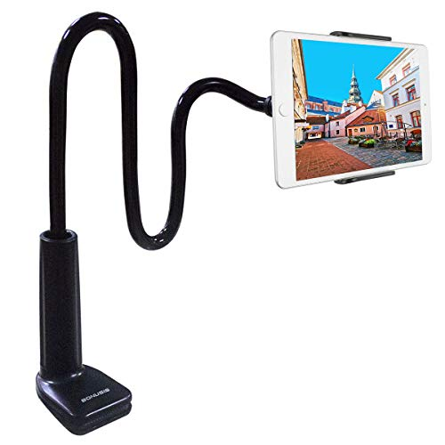 Bonusis Tablet Holder, Cell Phone Holder Gooseneck Cellphone Stand Bolt Clamp with Bracket for Android Devices 4-10.6 Inches, 360 Degree Rotating, 27.5 Inches Flexible Arm [Black]