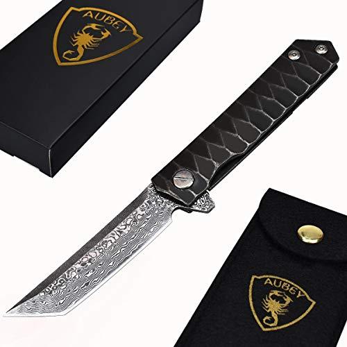 AUBEY Messer Damast Klappmesser Outdoor Taschenmesser Scharf Angelmesser EDC Damastmesser Survival Jagdmesser Damaststahl Knife (Damastmesser Tanto)