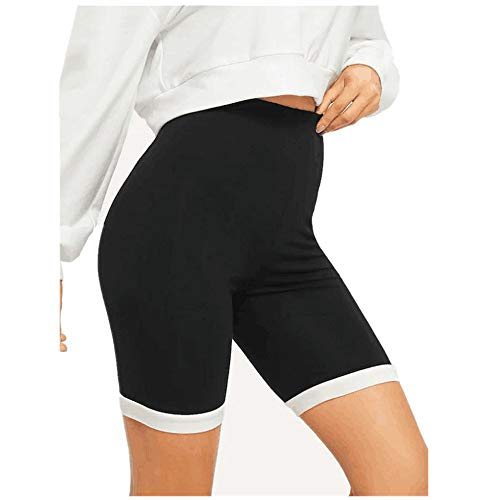 Taurner Elasticidad Deporte Yoga Pantalones Cortos Negros Ligeros Shorts de Entrenamiento Cómodos Pantalones de Color Liso con Bordes Blancos para Mujer