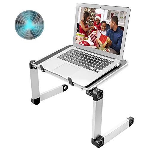 Adjustable Laptop Table with Big Fan Stable Laptop Stand for Bed Sofa Portable Laptop Stand Foldable Laptop Workstation Notebook Riser Ergonomic Computer Tray Reading Holder TV Bed Tray Standing Desk