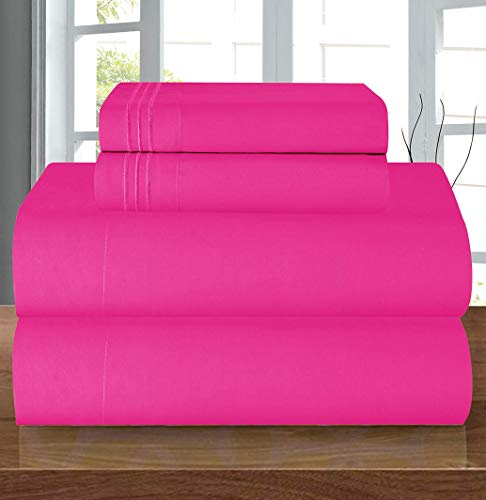 Elegant Comfort Luxury Soft 1500 Thread Count Egyptian Quality 4-Piece Sheet Wrinkle and Fade Resistant Bedding Set, Deep Pocket up to 16inch, Hot Pink