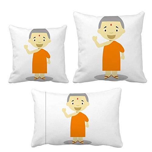 DIYthinker - Juego de fundas de cojín, diseño de monje de Nepal, color naranja