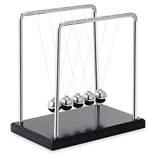 AXINMIAO Newtons Cradle Balance Balls with Black Wooden Base Fun Science Physics Learning Desk Toys Fun Gadget 5 Pendulum Balls for Office and Home Decoration- Large Black
