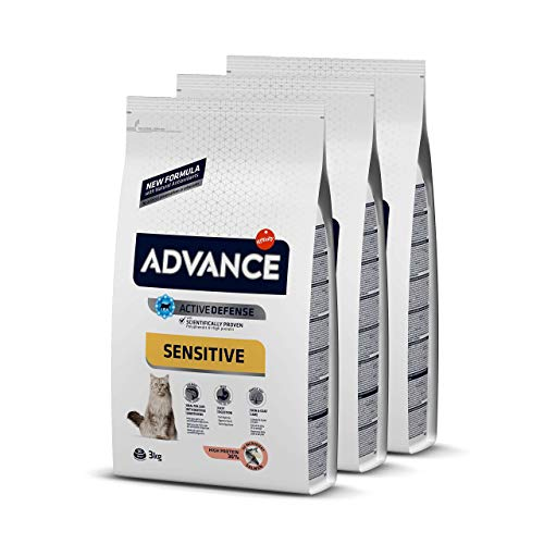 Advance Sensitive - Pienso para Gatos con Sensibilidades Digestivas - Pack De 3 x 3kg - Total 9kg