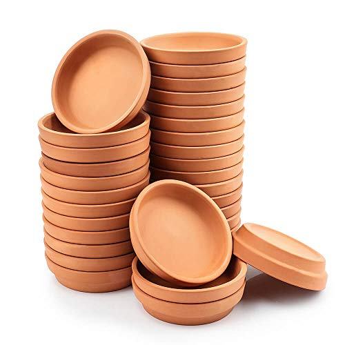 3 Inch Small Terracotta Pot Plant Saucer  32 pcs Mini Round Plant Pot Saucers Tiny Clay Plant Trays Perfect for 2inch 25inch 3inch Flower Plant Pot with Drainage Hole and Great for Indoor Outdoor