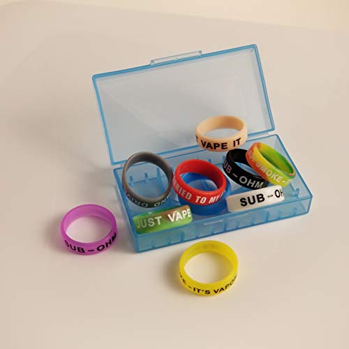 10pc Vape Rings and Dual 18650 Plastic Case Silicone Anti Slip Band for RBA RDA Tank Mechanical Mods