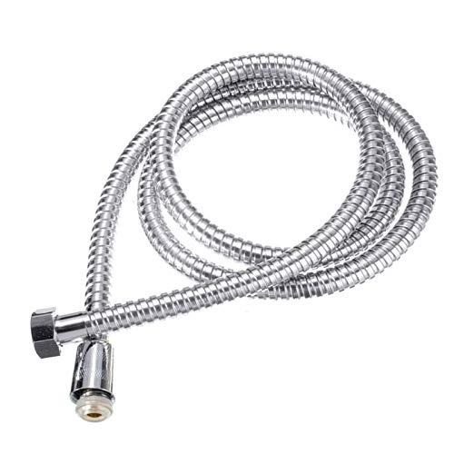 Manguera de ducha, flexible de acero inoxidable cromado, manguera de ducha antitorceduras con arandela de tuberías (2 m)