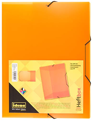 Idena 225407 - Heftbox für DIN A4 mit Gummizug, aus PP, Füllhöhe 3,5 cm, transluzent orange, 1 Stück