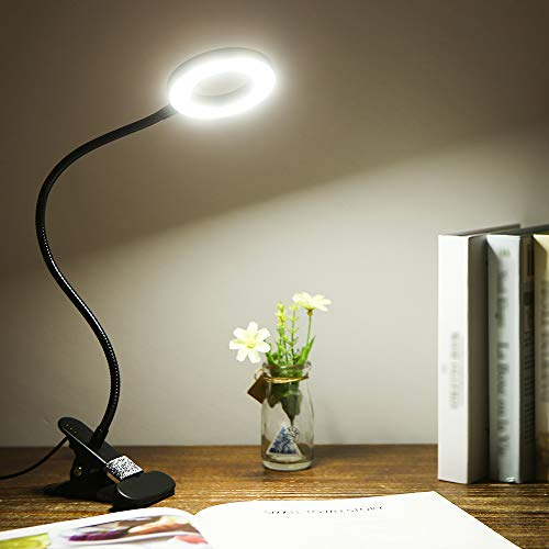Tomshine Lampada con Pinza LED da Tavolo a Clip con Collo Flessibile 18LED 3 Modalità di Colore 10 Luminosità Dimmerabile Lampada da Scrivania