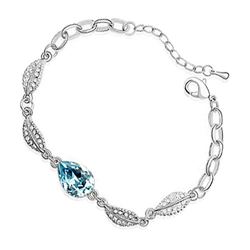 UPCO Jewellery Brazalete con una Piedra Central en Forma de Gota de Agua Azul Marino y 4 Hojas Cubiertas de Cristales Blancos, de 180 MM bañado en Plata esterlina
