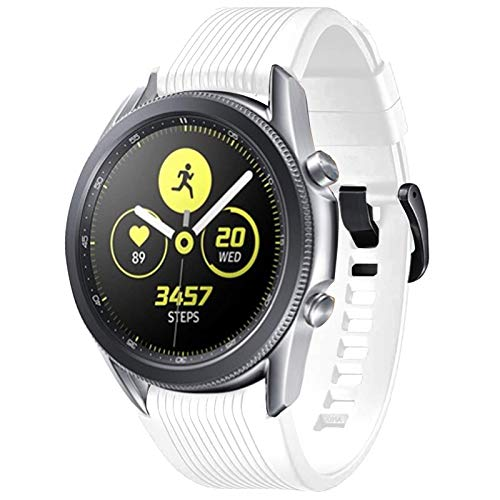 COLAPOO Silicone Band for Samsung Galaxy Watch 3 45mm/Gear S3 Frontier/Galaxy Watch 46mm,22mm Width with Quick Release Pins for Gear S3/Galaxy Watch/Galaxy Watch3 Smartwatch (White)