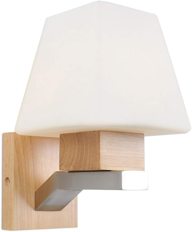 BEN-YI Glas Holz Lampe Innenwandleuchte Nachttischlampe Hotel Schlafzimmer Wand Nordic Einfache Holz Wandleuchte -5189Wandleuchten (Farbe   Warmes Licht)