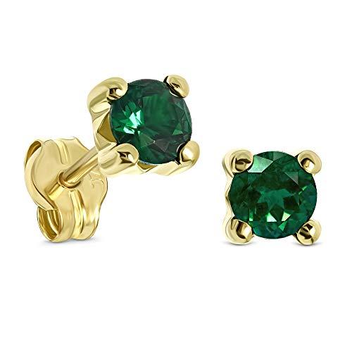 Miore Orecchini Donna  Piccoli a  Lobo Solitario Smeraldo Oro Giallo 9 Kt / 375