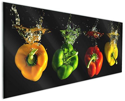 Wallario Küchenrückwand aus Glas, in Premium Qualität, Motiv: Bunte Küche Paprika in rot gelb orange und grün im Wasser | Spritzschutz | abwischbar | pflegeleicht