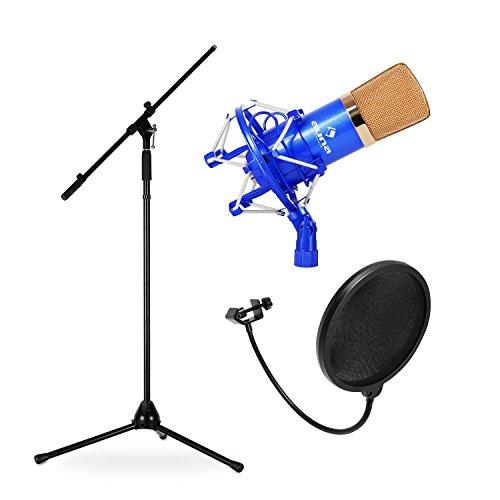 Electronic star set Micrófono estudio (micro condensador, frecuencia 20hz 20khz, tripode, protector anti-pop) azul