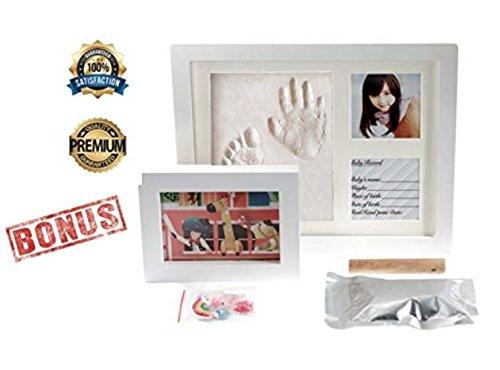ARASLTD Baby Handprint Kit & Footprint Photo Frame Newborn Girls Boys, Personalized Baby Gifts, Keepsake Box Decorations Room Wall Nursery, Baby Photo Album Shower Registry
